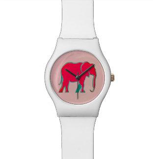 ピンクのはっきりしたな漫画象のモダンでガーリーなシンプル 腕時計