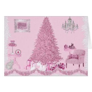ピンクのぼろぼろの部屋のクリスマス カード