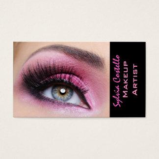 ピンクのアイシャドウの長い鞭のeyemakeupの芸術家カード 名刺