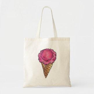 ピンクのアイスクリームコーンの夏のデザートのアイスクリームのバッグ トートバッグ