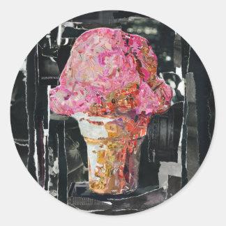 ピンクのアイスクリームコーン ラウンドシール