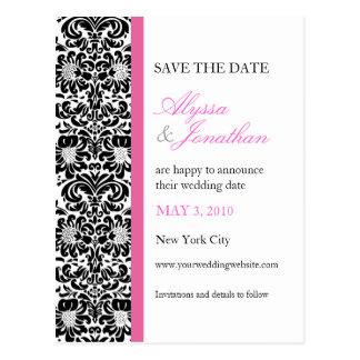 ピンクのアクセントのダマスク織の保存日付カード ポストカード
