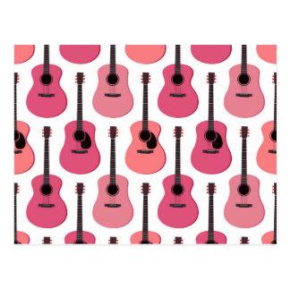 ピンクのアコースティックギターパターン ポストカード