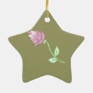 ピンクのアザミの花のモチーフ 陶器製星型オーナメント