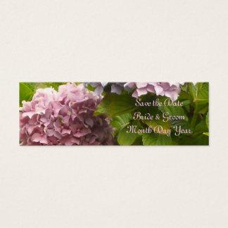 ピンクのアジサイの保存日付 スキニー名刺