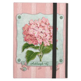 ピンクのアジサイの緑のリボンの紙のストライプのな生地 iPad AIRケース