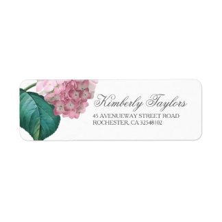 ピンクのアジサイの花の結婚式 返信用宛名ラベル