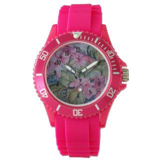 ピンクのアジサイ 腕時計