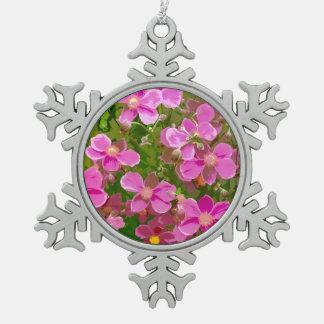 ピンクのアネモネの花柄の雪片のオーナメント スノーフレークピューターオーナメント