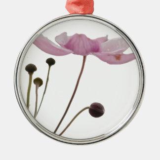 ピンクのアネモネの花 メタルオーナメント