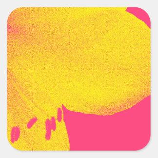 ピンクのアマリリスのクローズアップの黄色 スクエアシール