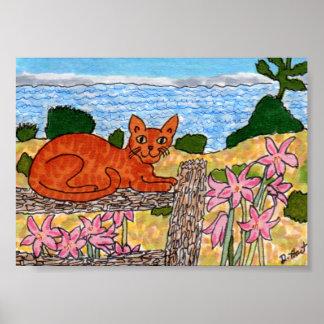 ピンクのアマリリスの小型民芸の海猫 ポスター