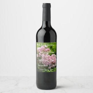 ピンクのアメリカ・シャクナゲの花の結婚式は感謝していしています ワインラベル