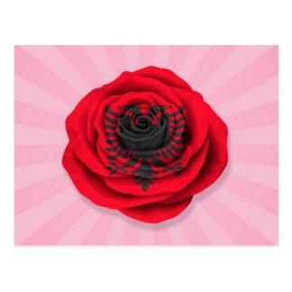 ピンクのアルバニア人のばら色の旗 ポストカード