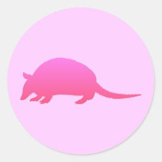 ピンクのアルマジロ ラウンドシール