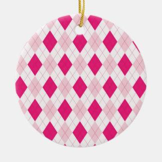 ピンクのアーガイル柄のなパターン セラミックオーナメント
