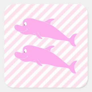 ピンクのイルカ スクエアシール