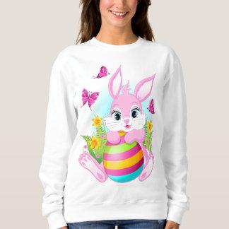 ピンクのイースターのウサギの白のスエットシャツ スウェットシャツ