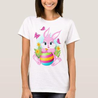 ピンクのイースターのウサギの白のTシャツ Tシャツ
