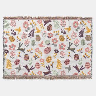 ピンクのイースター投球毛布のバニーの卵の花 スローブランケット