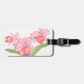 ピンクのエキゾチックな水彩画の花 ラゲッジタグ