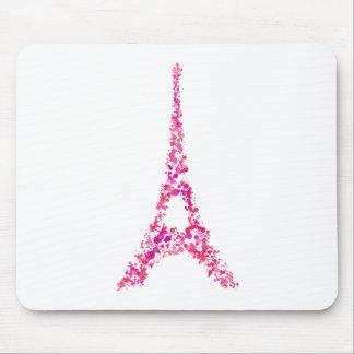 ピンクのエッフェル塔の(ばちゃばちゃ)跳ねる色彩の鮮やかなパリ マウスパッド