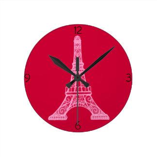ピンクのエッフェル塔 ラウンド壁時計