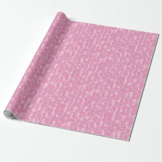 ピンクのエレガントなダマスク織は縞で飾り、 ラッピングペーパー