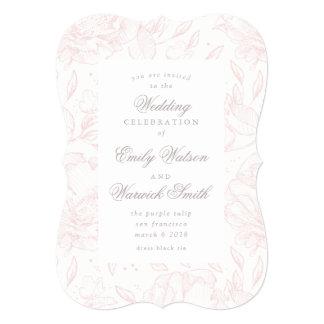 ピンクのエレガントな手描きの花の結婚式招待状 カード