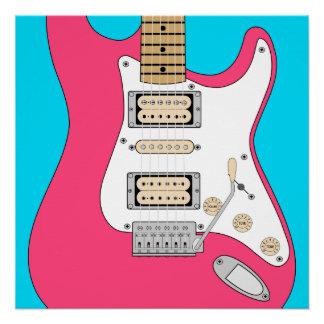 ピンクのエレキギター ポスター