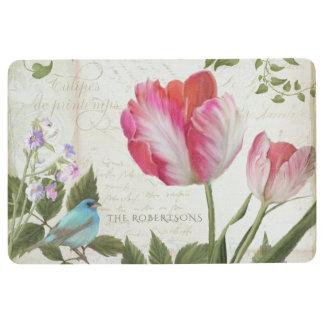 ピンクのオウムのチューリップwの鳥のフランスのなタイポグラフィの原稿 フロアマット