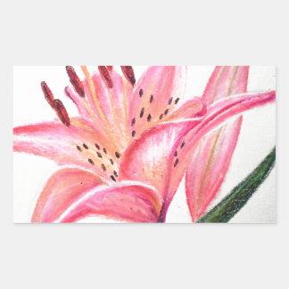 ピンクのオニユリ-油のパステル調のプリント 長方形シール