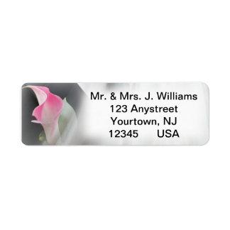 ピンクのオランダカイウユリの華麗さフレームの宛名ラベル ラベル