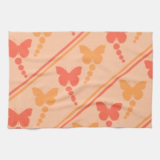 ピンクのオレンジモモの蝶点のストライプのプリント キッチンタオル