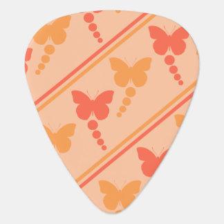 ピンクのオレンジモモの蝶点のストライプのプリント ギターピック