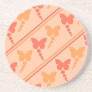 ピンクのオレンジモモの蝶点のストライプのプリント コースター
