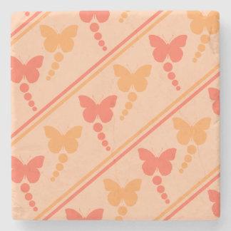 ピンクのオレンジモモの蝶点のストライプのプリント ストーンコースター