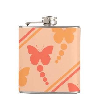 ピンクのオレンジモモの蝶点のストライプのプリント フラスク