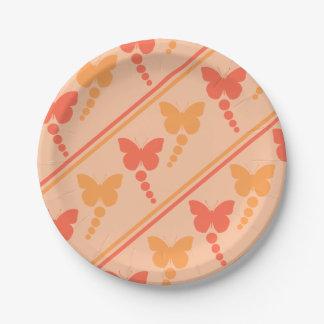 ピンクのオレンジモモの蝶点のストライプのプリント ペーパープレート