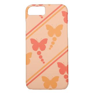 ピンクのオレンジモモの蝶点のストライプのプリント iPhone 8/7ケース