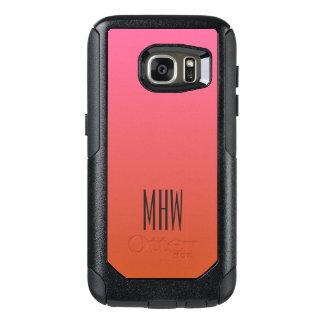 ピンクのオレンジ勾配のカスタムなモノグラムの電話箱 オッターボックスSamsung GALAXY S7ケース