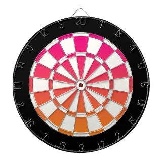 ピンクのオレンジ白黒 ダーツボード