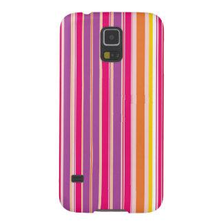 ピンクのオレンジ紫色のカラフルでガーリーでストライプなパターン GALAXY S5 ケース
