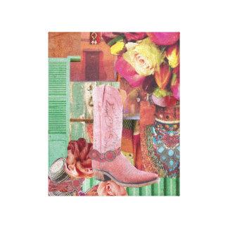 ピンクのカウボーイ・ブーツ キャンバスプリント