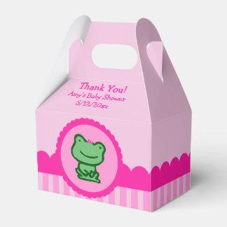 ピンクのカエルのベビーシャワーの好意箱 フェイバーボックス