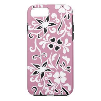 ピンクのカスタマイズ可能で黒く及び白い花パターン iPhone 7ケース