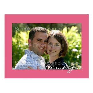 ピンクのカスタムな写真の結婚式は郵便はがき感謝していしています ポストカード