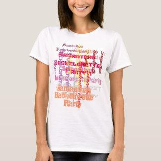 ピンクのカスタムな文字のバチェロレッテ Tシャツ