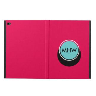 ピンクのカスタムな色の影の円のモノグラムの青 POWIS iPad AIR 2 ケース