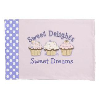 ピンクのカップケーキおよび水玉模様の枕箱 枕カバー